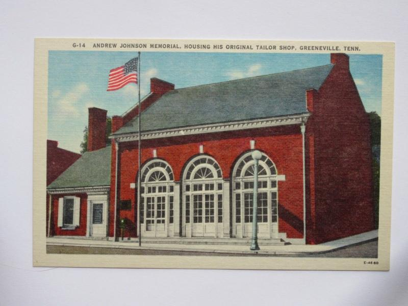 Greeneville TENNESSEE Vintage Postcard Andrew Johnson Memorial House & Shop