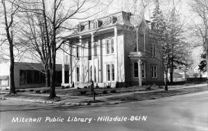 Hillsdale Michigan~Mitchell Public Library~Houses~Building Next~1959 RPPC