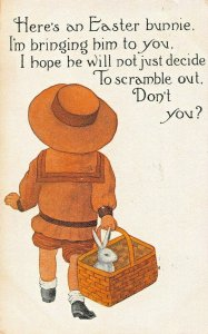 HERE'S AN EASTER BUNNIE~HOPE HE WILL NOT DECIDE TO SCRAMBLE OUT-1911 POSTCARD