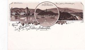 Gruss von Capelfen u. Schloss-Stolzenfels , Germany. 1890s ;3-view postcard