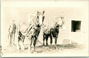 RPPC Real Photo Postcard FARM SCENE Horse Team Farmer Barn c1910s Unused