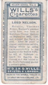 Cigarette Card Wills Nelson Series No 2 Lord Nelson