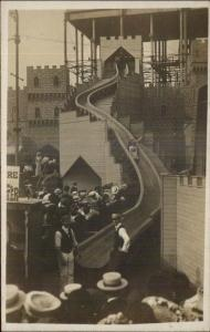 Unidentified Amusement Park Slide & Crowd Ride Attendant Real Photo Postcard