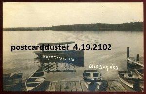 2102 - COLD SPRINGS Indiana 1910s Lake Boating. Real Photo Postcard
