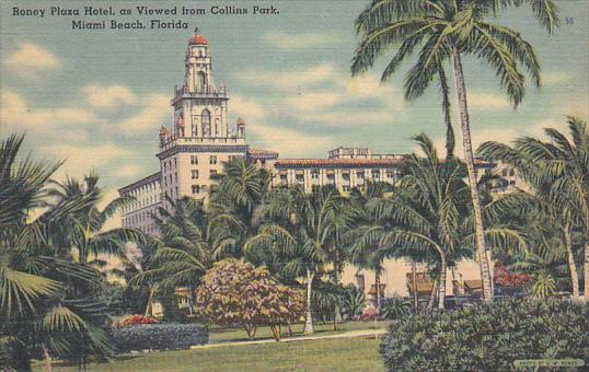 Roney Plaza Hotel From Collins Park Miami Beach Florida 1948