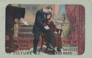 Romantic Couple, PU-1911; Photographer hugging his lady, Camera