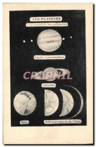 Old Postcard Moon The planets Jupiter Saturn Mars Venus