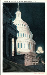 Vtg 1920s US Capitol by Night Washington DC Unused Postcard