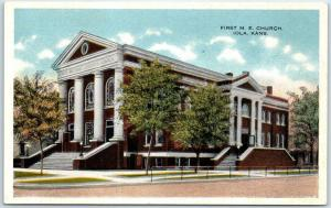 Iola, Kansas Postcard First M.E. Church Street View c1920s Unused