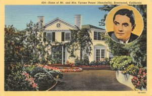 Actor Tyrone Power Movie Star Home, Brentwood, CA c1930s Vintage Postcard