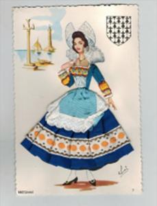 13924   Silk Embroidered Artist Signed  Bretonne