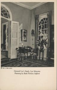 General Lee's Study ~ Lee Mansion ~ Ruth Perkins Safford Painting Postcard