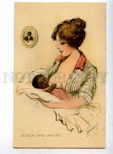 187214 Nursing BLACK Baby WHITE by MARQUIS Vintage American PC