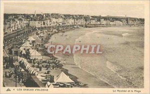Old Postcard Les Sables d'Olonne The Embankment and the Beach