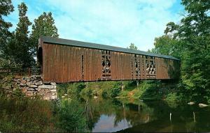 New Hampshire Milford Covered Bridge Across Souhegan River