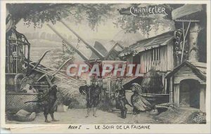 Old Postcard The Evening of the Pheasant Chantecler Coq