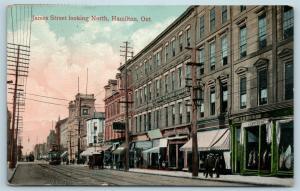 Postcard Canada Ontario Hamilton James Street Looking North 1908 View Q11