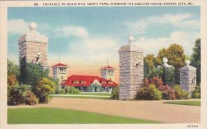 Entrance To Beautiful Swope Park Showing The Shelter House Kansas City New Ha...