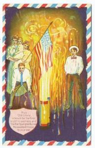 Old Glory Fire Cracker Embossed Fourth of July Postcard