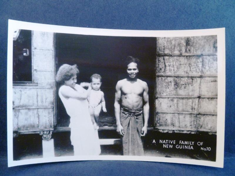 Postcard New Guinea Grogan RPPC Real Photo WW2 A Native Family of New Guinea