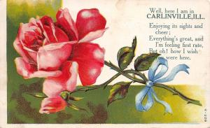 Carlinville Illinois~Pink Rose & Bud Embossed~Enjoying Sights & Cheer Poem c1907