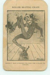 Roller Skating Craze, Skinny Clown Falling on Skates 1908 Comic Postcard