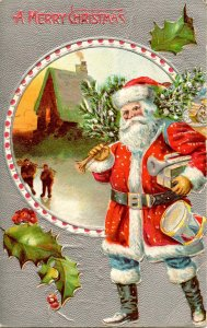 Greeting - Christmas, Santa Claus. Red Suit, Blue Pants   (crease)