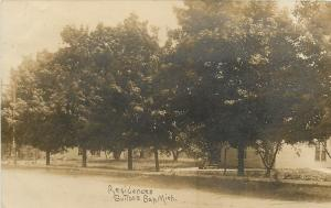 Suttons Bay Michigan~Residential Street~Fat Shade Trees RPPC 1909