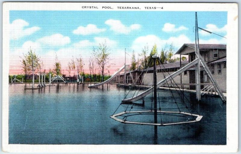 Texarkana, Texas Postcard CRYSTAL POOL Swimming Pool View Kropp Linen Unused