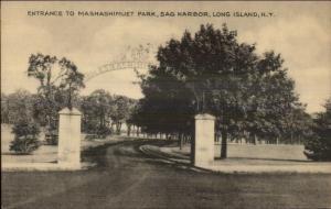 Sag Harbor Long Island NY Entrance to Mashashimuet Park Old Postcard
