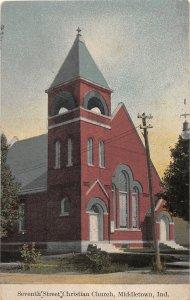 F60/ Middletown Indiana Postcard 1916 7th Street Christian Church