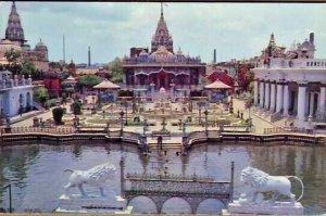Pan American promo postcard President and Rainbow flight Jain Temple Calcutta -