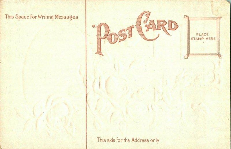 Vtg 1900s Carte Postale Pâques Voeux - Croix & Œuf Texturé Argent & en Relief