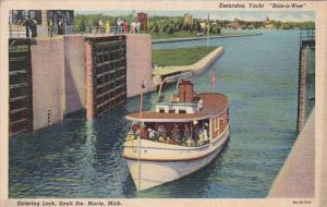 Michigan Sault Ste Marie Excursion Yacht Bide-A-Wee Entering Lock 1941 Curteich