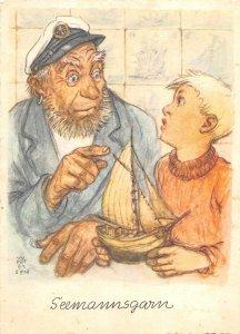 US4803 Aquarell von Prof Wilhelm Petersen Elmshorn Seemannsgarn sailor comic