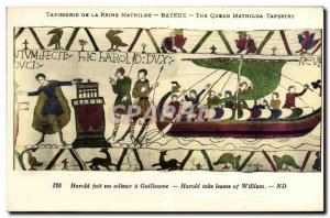 Postcard Old Bayeux Tapestry Queen Mathilde Harold says goodbye to William