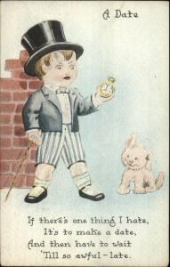 Boy in Top Hat & Suit w/ Pocket Watch Annoyed by Lateness c1920 Postcard