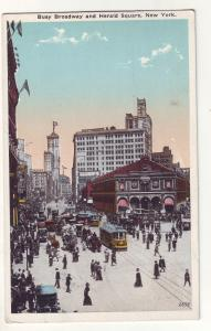 P647 JLs 1920,s old cars, trolleys, people broadway & herald sq new york