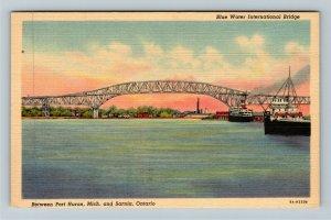 Sarnia ON-Ontario Canada, Blue Water International Bridge Linen Postcard
