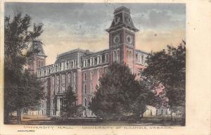 Urbana~Handcolored University Hall~Univ of Illinois~Towers w/Mansard Roofs 1909