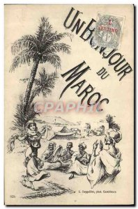 Old Postcard Fantasy Illustrator Greetings from Morocco Dancer
