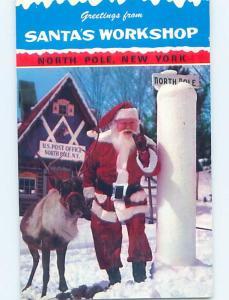 Pre-1980 SANTA CLAUS WITH REINDEER Adirondacks - North Pole Wilmington NY hn4670