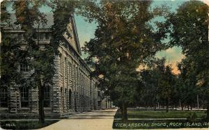 Rock Island Illinois~Arsenal Shops Left Side Close Up~1913 Acmegraph Postcard