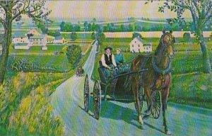 Pennsylvania Leola Heart Of Amishland Amish Courting Carriage 1963