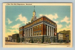 Hagerstown MD-Maryland, New City Hall, Linen Postcard