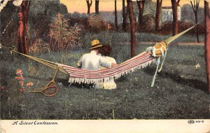 Tennis Post Card A Silent Confession Man and Woman in Hammock 1908