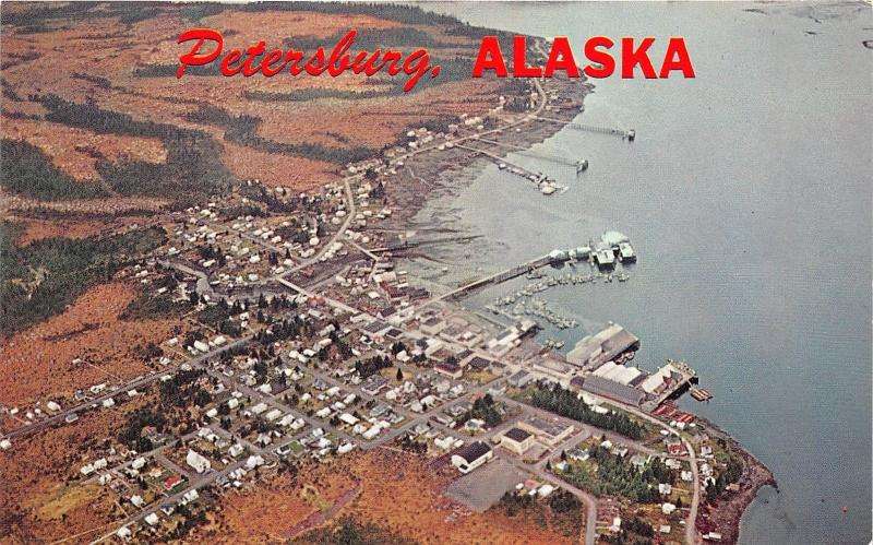 Petersburg Alaska~Aerial View Showing Wrangell Narrows~1950s Postcard