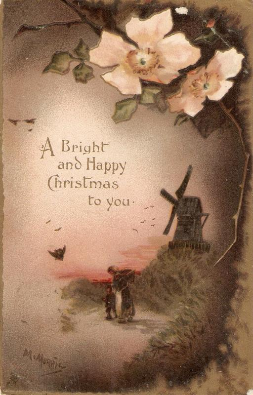 Windmill. Flowers. Message Tuck Christmas Greetings Series PC # 8223
