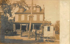 RFD Wagon at Post Office in New York State Real Photo Postcard