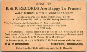 SHELTON, Nebraska Advertising Postcard K&K RECORDS Walt Shrum & The Westernaires
